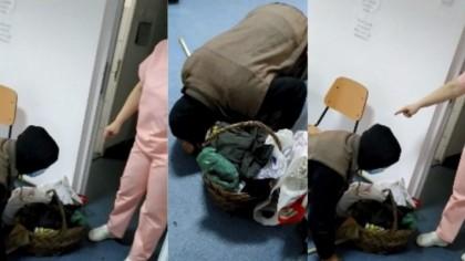 Femeia care l-a filmat pe bătrânul căzut la pământ în spitalul din Corabia rupe tăcerea. Reacția medicului când l-a văzut pe bolnav